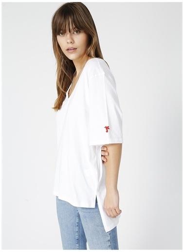 Fabrika Fabrika Talita Beyaz V Yaka Kadın T-Shirt Beyaz